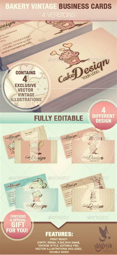free printable bakery business card templates cake design business cards by dogmadesign graphicriver