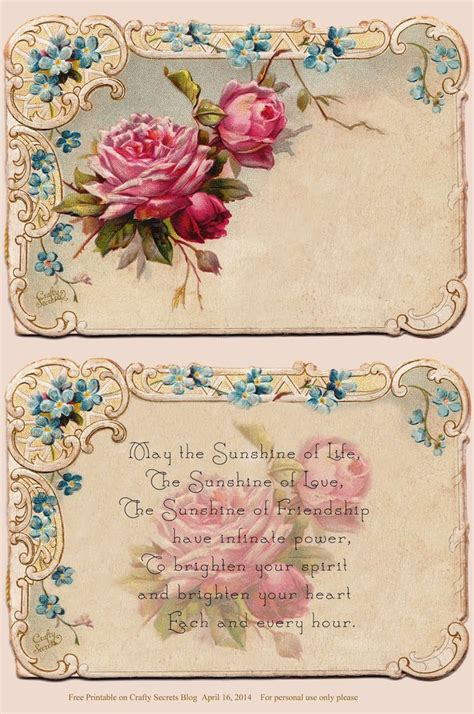 printable vintage postcards free beautiful free antique rose card and poem for personal
