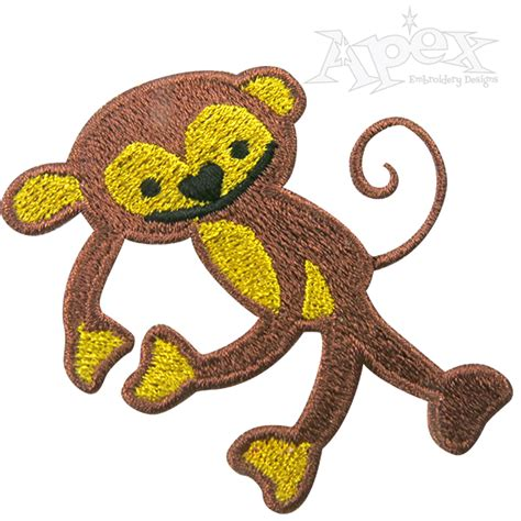 Monkey Applique by Retro Monkey Embroidery Design Fill Applique