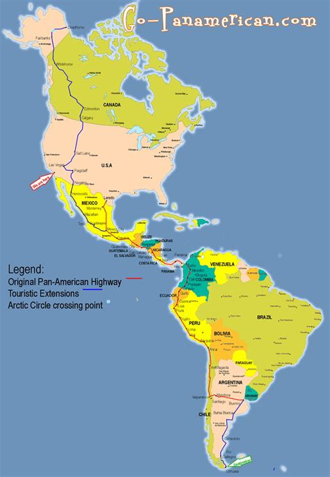 map usa panama travel the pan american highway end to end which crosses