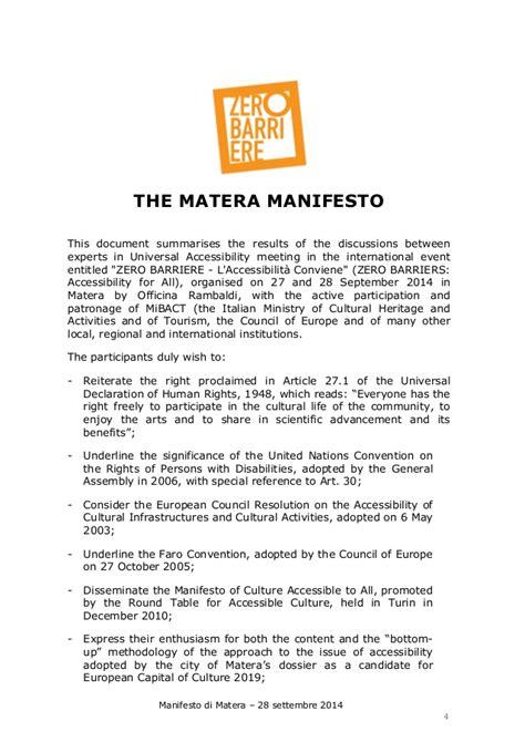 The Italian Manifesto by The Matera Manifesto On Cultural Inclusion In Italian And