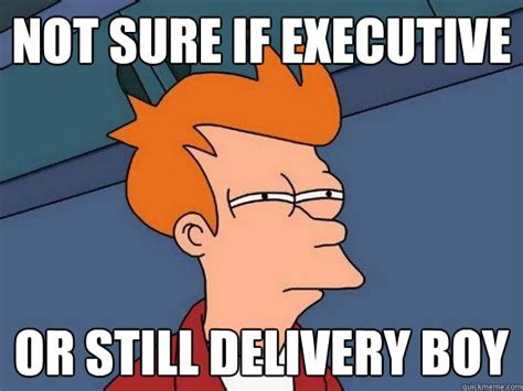 Delivery Meme - not sure if executive or still delivery boy futurama fry