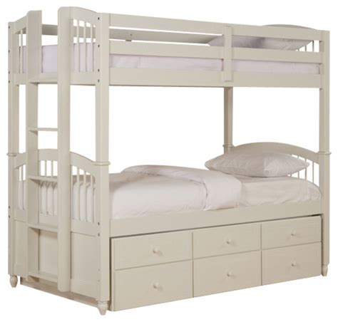 Bunk Bed With Trundle Bed Powell May Bunk Bed With Trundle In White Traditional Bunk Beds By Beyond Stores
