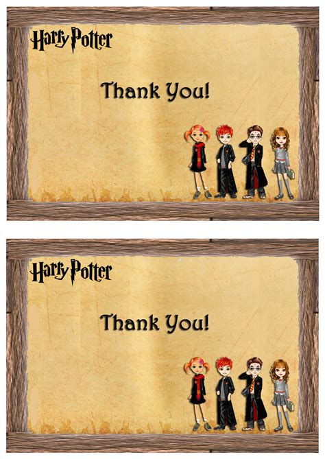 printable harry potter thank you cards harry potter thank you cards birthday printable
