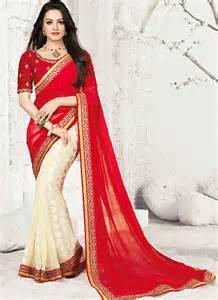 Home 187 sarees 187 anita hassanandani red georgette sarees