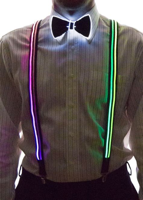 light up bow tie and suspenders light up stripe suspenders glow in the light up