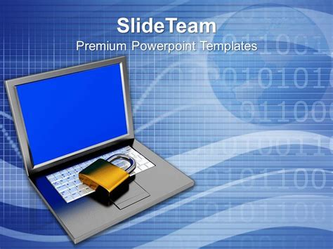 information security powerpoint template padlock on keyboard data security and protection
