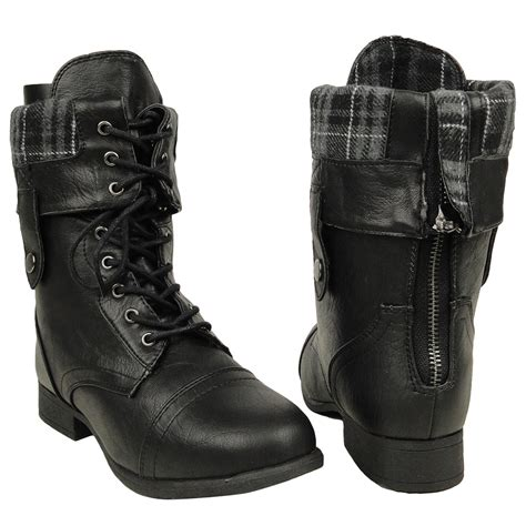 s boots size 5 s mid calf fold comfort lace up combat boots us