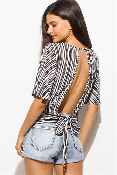 Striped Cut Out Top Sabrina Blouse shop black striped wide sleeve cut out open tie back