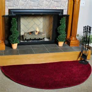 Fire Resistant Fireplace Rugs Canyon Polyester 6 Half Round Hearth Rug Crimson
