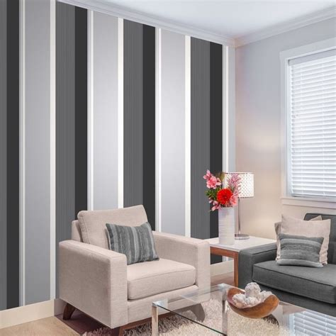 Black And White Feature Wallpaper | millie stripe white silver black stripes crown feature