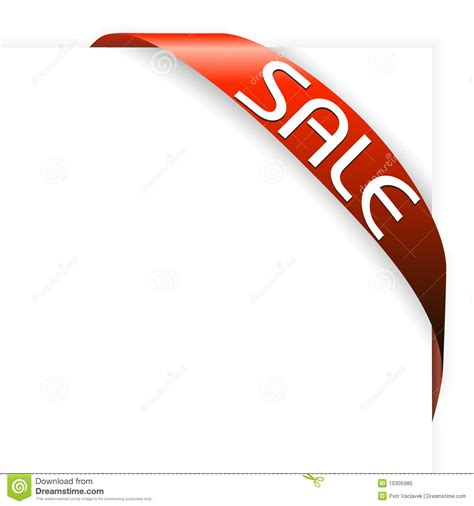 red corner ribbon for items with sale stock photo image