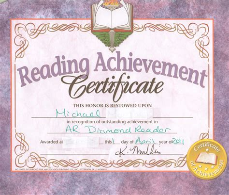 free reading achievement certificates diplomatic security