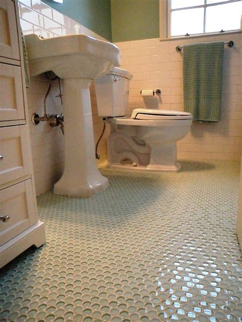 penny tiles bathroom 1940 3 bath room up date with glass penny round floor and