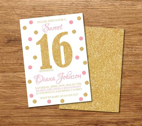 16th birthday card template 16th birthday invitation printable gold white pink