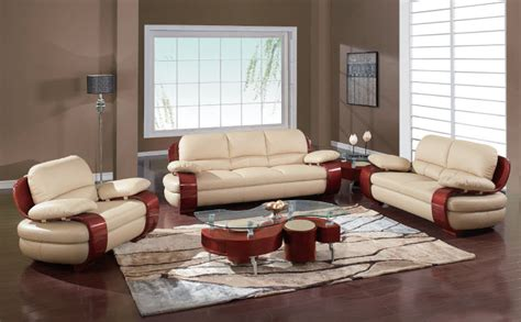 Plush Padded Arm Tan Leather Covered Living Room Set Designer Living Room Sets