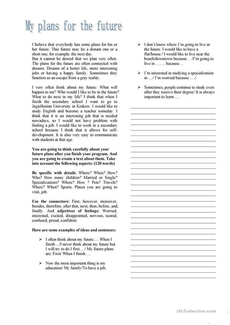 My Plans For The Future Essay by Writing About My Future Plans Worksheet Free Esl Printable Worksheets Made By Teachers