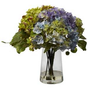 hydrangea silk flower arrangement with glass vase