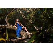 Women Trees Blue Dress Barefoot Outdoors