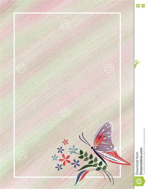 Hand Drawn Textured Floral Background Pastel Card With Butterfly Flowers Template For Letter Or Letter Background Template