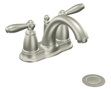 Moen 6610BN Brantford Two Handle Low Arc Bathroom Faucet with Drain Assembly, Brushed Nickel