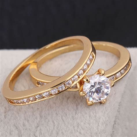 paar ringe gold jewelry 18k gold plated engagement ring set