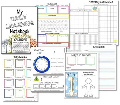 printable calendar kindergarten free daily learning notebook printables preschool