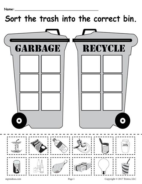 Recycle Worksheets by Sorting Trash Earth Day Recycling Worksheets 4 Free