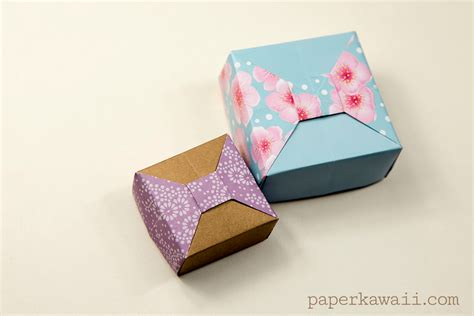 Origami Japanese Box - origami box with bow tutorial paper kawaii