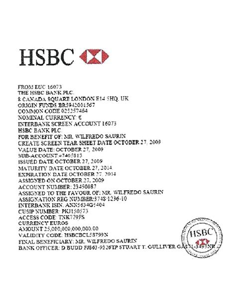 Bank Confirmation Letter Hsbc Bankers Jp Us Federal Reserve Bank Hsbc Others Global Expos 233 Otb