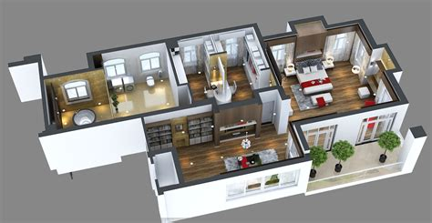 Floor Plan 2 Bedroom Apartment by Photoreal Bedroom Floor Apartment 3d Model Max Cgtrader Com