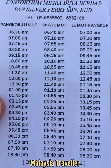 pangkor island ferry schedule ticket price  location