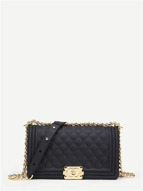 Quilted Chain Crossbody Bag metal lock quilted crossbody chain bag shein sheinside