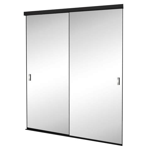 Beveled Mirror Sliding Closet Door 60 In X 80 In Trim Line Beveled Mirror Bronze Finish Aluminum Interior Sliding Door Tln