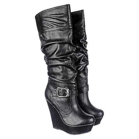 Booth Wedges bamboo booth 07 s black platform wedge boot shiekh