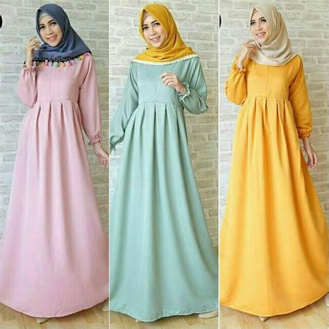 Longdress Syari 2 Warna gamis syari polos balotelli basic dress basic longdress