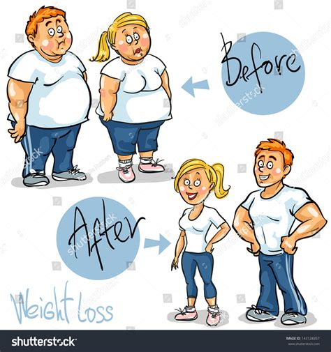 weight management nch before after weight loss stock vector 143128357