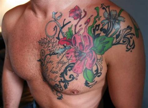 color tattoos for men colored flowers chest for