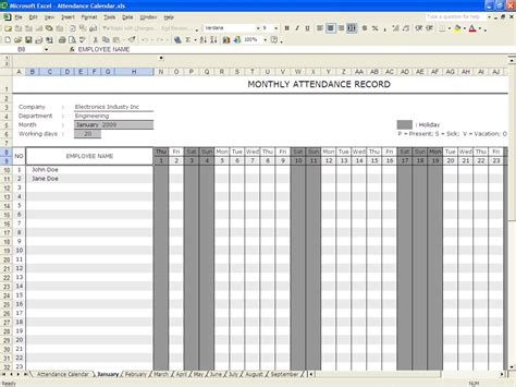 monthly employee attendance record template 36 general attendance sheet templates in excel thogati