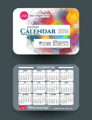 business card calendar template 2016 calendar 2016 with business cards vector 05 free