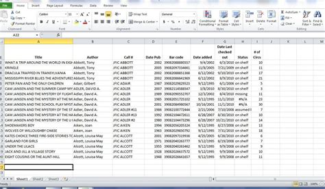 Using Excel With Collection Development Awful Library Books Excel Library Template
