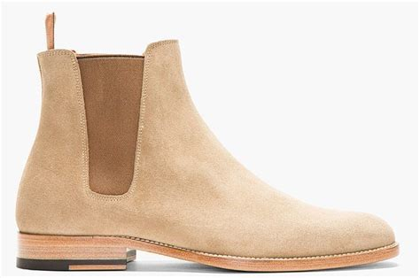 handmade mens beige chelsea suede leather boots suede