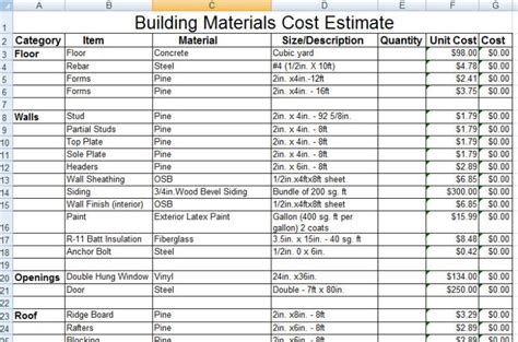 build a house estimate download construction building materials cost estimate