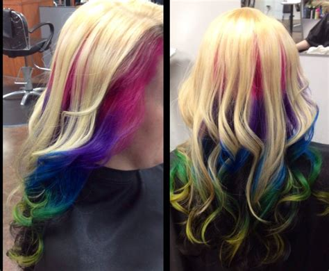 under crown area hilights soooooo pretty platinum blonde on top rainbow ombre in