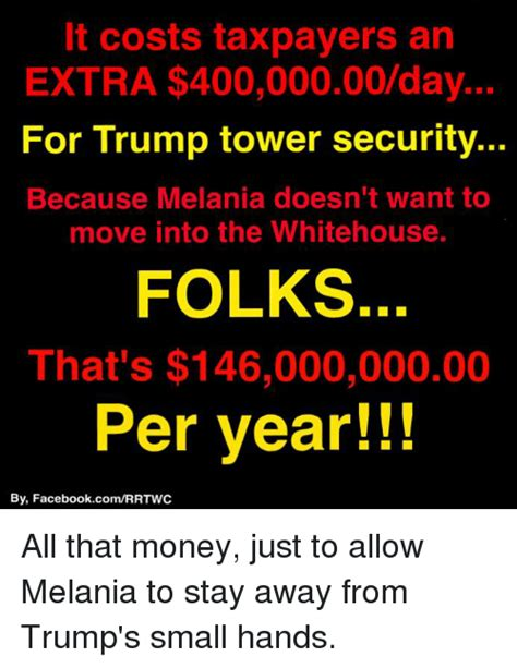 trump security costs on pace to cost taxpayers 300 25 best memes about trump small hands trump small hands