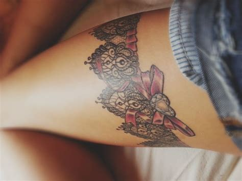 garter tattoos on thigh garter bow tatts
