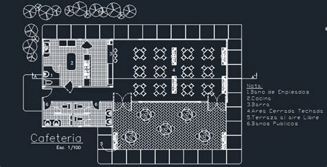 coffee bar  floor plans  dwg design section