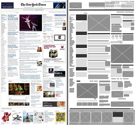 web layout wireframe side by side comparison of wireframe next to complex