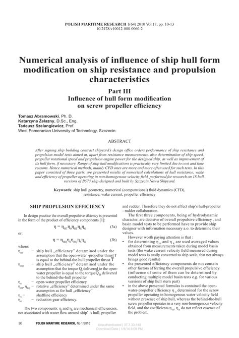 ship resistance and propulsion pdf numerical analysis of influence of ship hull form