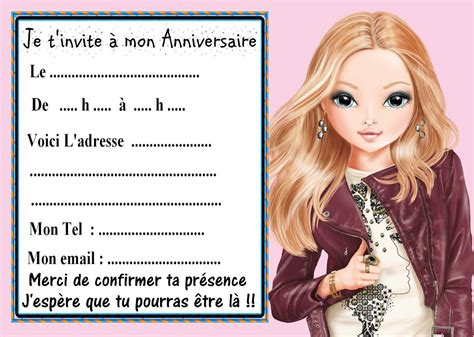 Carte D Invitation Top Model